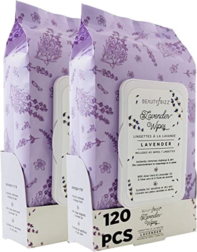 Beautyfrizz Lavender Face Cleansing Wipes - 120 pcs - Gentle Makeup Remover Wipes for Face and Neck - Facial Wipes wi...