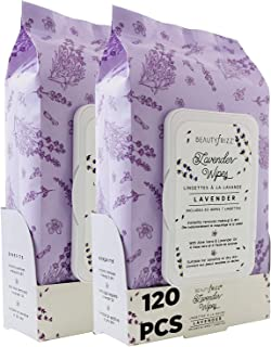 Beautyfrizz Lavender Face Cleansing Wipes - 120 pcs - Gentle Makeup Remover Wipes for Face and Neck - Also Contains Aloe Vera, Retinol, Castor Oil and Vitamin E - Stay Ever Fresh with Lavender Wipes