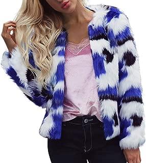 Faux Fur Jacket, Women's Autumn Winter Warm Coat Gradient Color Parka Outerwear