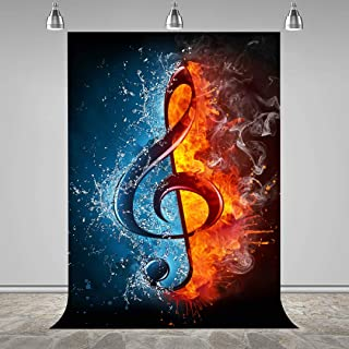 MEETSIOY Music Note Backdrop Ice and Fire Themed Musical Notes Background Themed Party Photo Booth YouTube Backdrop 5x7ft LXMT376