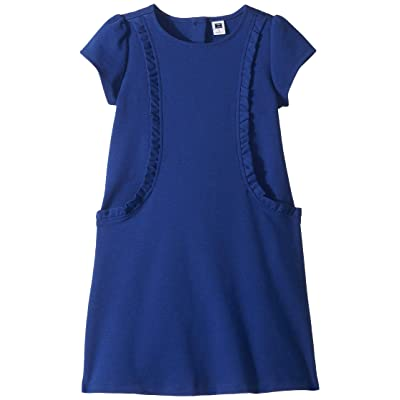 Janie and Jack Short Sleeve Ruffle Ponte Dress (Toddler/Little Kids/Big Kids) (Blue) Girl