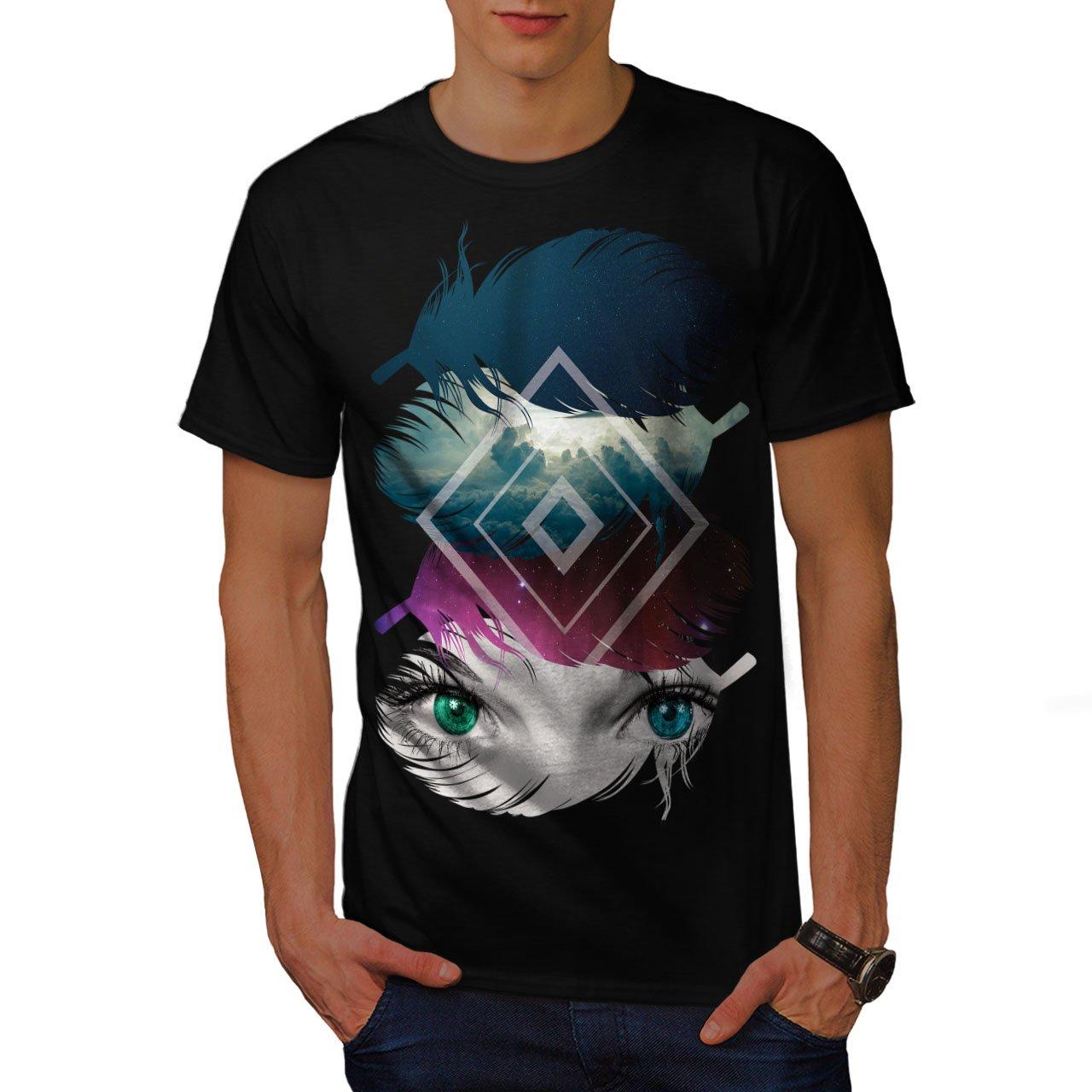 wellcoda Eye Cloud Feather Mens Sweatshirt Galaxy Casual Jumper