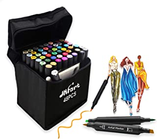 48 Colors Alcohol Brush Markers, Brush & Chisel Dual Tip Artist Sketch Markers, Alcohol Based Brush Art Marker Set w/Bonus 1 Colorless Blender and 1 Highlight Pen
