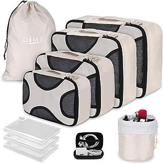Packing Cubes for Travel, 8Pcs Travel Cubes Set Foldable Suitcase Organizer Lightweight Luggage Storage Bag (X-shape Beige)