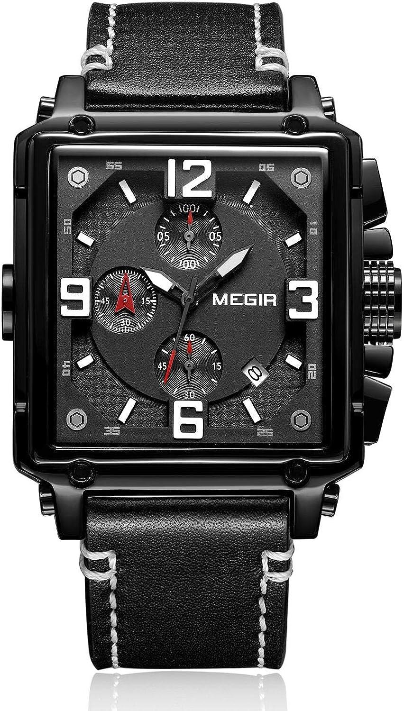 MEGIR Men Chronograph Square Quartz Leather Watches Ca Sales results No. 1 Band with Attention brand