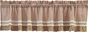 """VHC Brands Classic Country Farmhouse Kitchen Window Curtains - Kendra Stripe White Valance, 19"""" x 72"""", Red"""