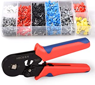 Ferrule Crimper Tool Kit Insulated with 1200pcs Wire Ferrules Wire Ends Terminals AWG 23-7 Square Crimping Pliers(0.25-10mm²)
