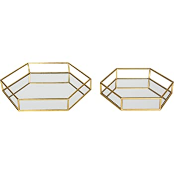 Kate and Laurel Felicia Metal Mirrored Ornate Set of 2 Decorative Trays, Gold Leaf Finish