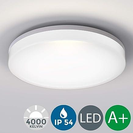 LED Deckenleuchte, wasserfest, IP54 inkl. 18W 2400lm LED Platine, 4000K neutral weiss, 28cm Durchmesser, Badezimmer und Balkon geeignet