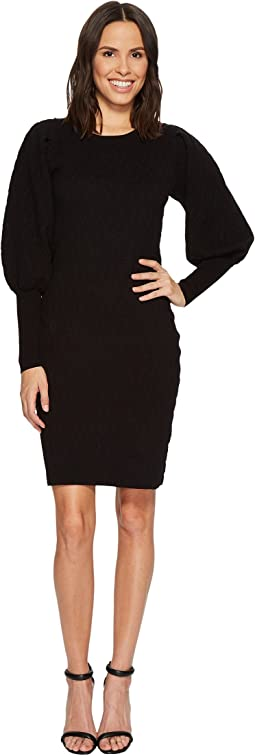 Vince Camuto - Bubble Sleeve Texture Jacquard Sweater Dress