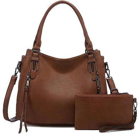 Realer Damen Handtaschen Mittel Shopper Lederhandtasche Schultertasche Umhängetasche Geldbörse Hobo Damen Taschen Set 2pcs Braun