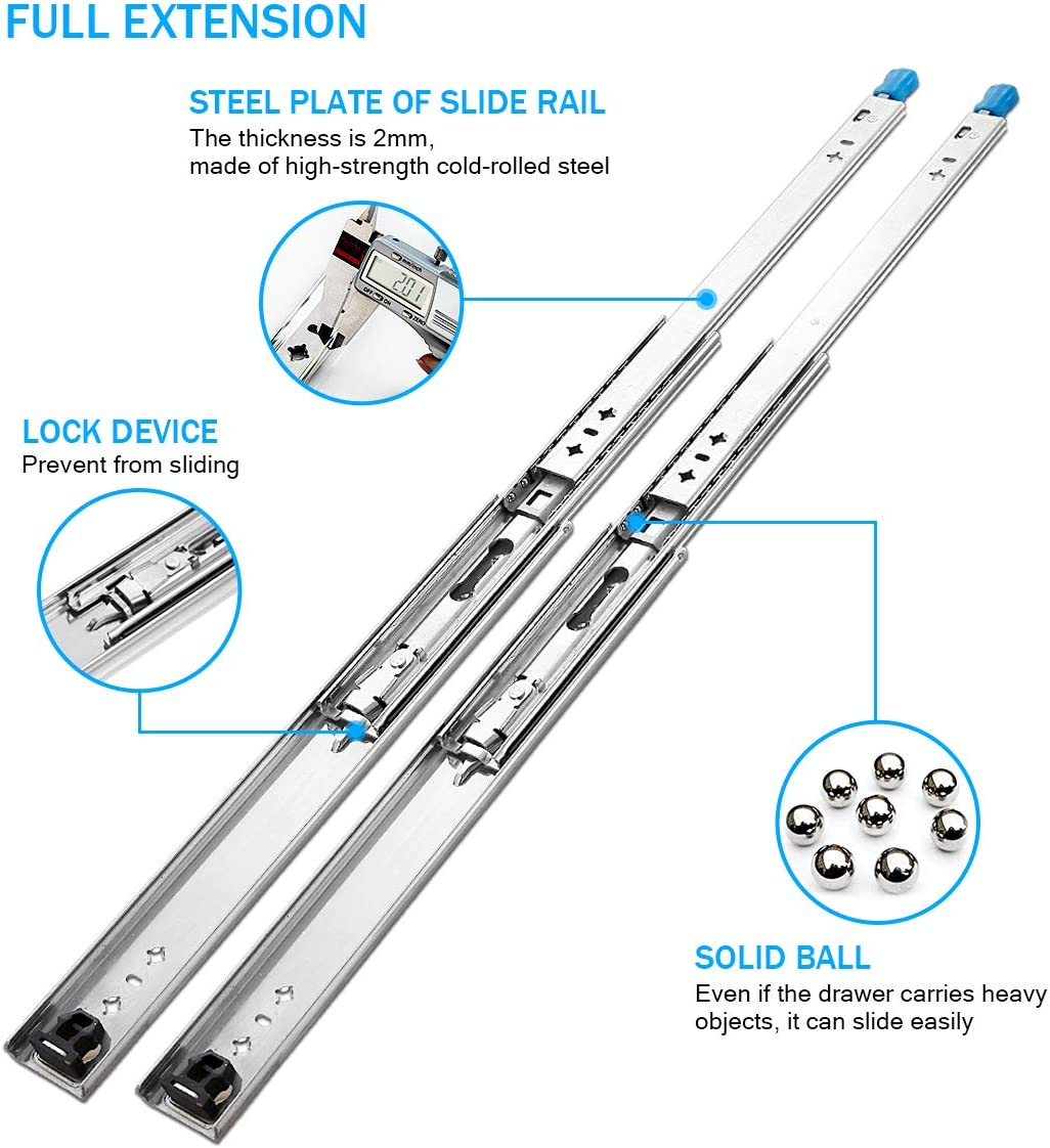 YENUO Heavy Duty Drawer Slides Full Extension Drawer Slides with Locking 40 inch Ball Bearing Runners Rails Track 170 lbs Loading Capacity 40 inch