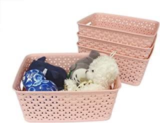 Honla Weaving Plastic Storage Baskets Bins Organizer with Handles,Set of 4,Pink