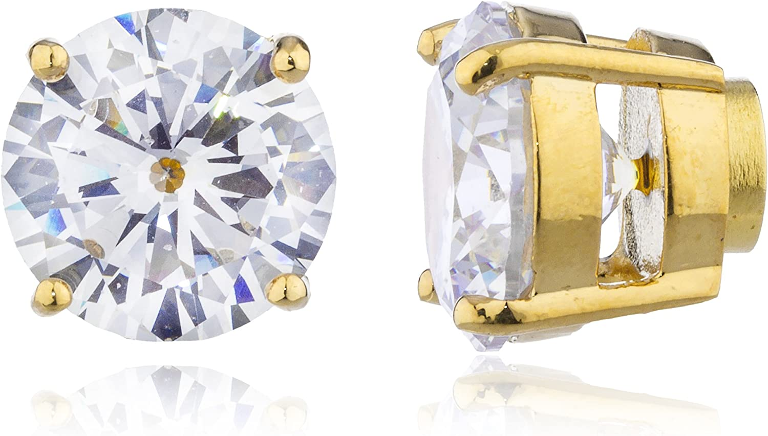 Goldtone with Clear Cz Round Magnetic Stud Earrings - 4mm to 12mm Available (Q7-KHG1-ER82)