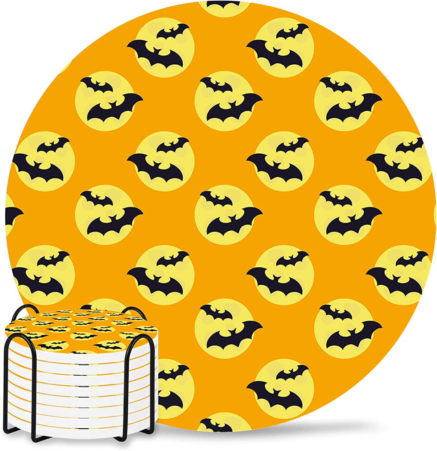 Halloween Coaster for Drinks 4 Absorbent Max 65% OFF Drin Inch Ceramic Omaha Mall Pad
