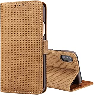 2018 Phone Covers for iPhone X,Retro Style Mesh Breathable Horizontal Flip Leather Case with Card Slots & Holder & Wallet & Photo Frame for iPhone X (Color : Brown)