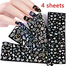 Christmas Nail Foil Transfers Stickers Nail Art Decor 4 PCS Xmas Styles Nail Stickers Snowflake Elk Starry Santa Claus Nail Applique Mix Pattern Design for Women with Christmas Party