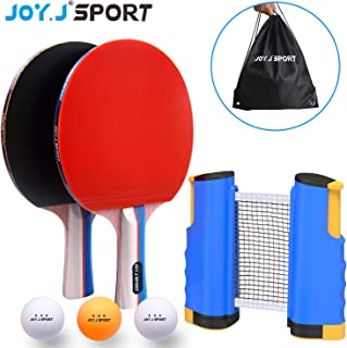 Joy.J Sets de Ping Pong, 2 Raquetas Set de Ping Pong, Juego Detenis de Mesa PortáTil, 2 Palas de Ping Pong Profesional +3 Pelotas + 1 Red RetráCtil + Bolsa de Viaje