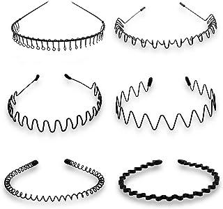 6 PCS Unisex Black Spring Wave Metal Hair Hoop Men Women Sports Headband Accessory