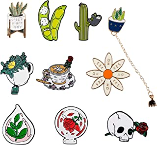 10 PCS Fresh Plant Brooches Pin Set   Daily Life Green Plants Decoration Brooch Clothes Accessories Gifts