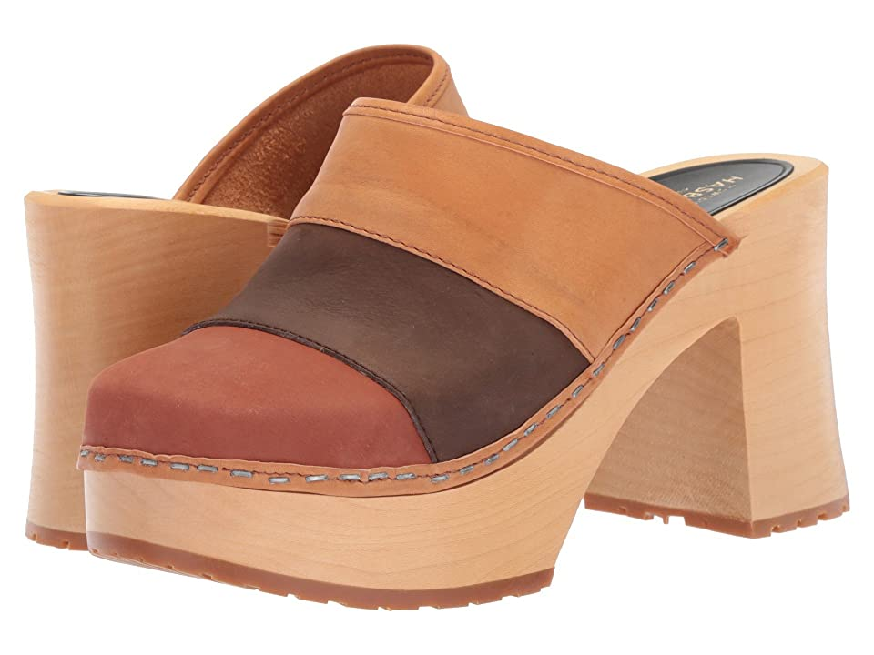 Swedish Hasbeens Color Combo Slip-In (Brown Nubuck) Women