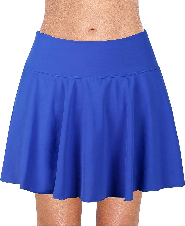 URqvick Women's Swimming Skirt with Briefs Solid Ruffle Skirted Waistband Sports Ruched Tankini Bottom