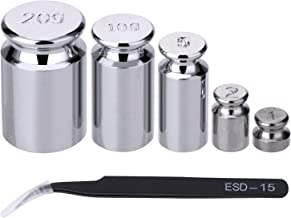 TOODOO 1g 2g 5g 10g 20g Gram Set for Digital Scale Balance and 1 Piece Calibration Weight Tweezer, Silver
