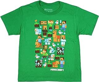 Minecraft Animals and Plants Boys Shirt Green