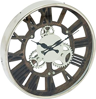"""Deco 79 42457 Stainless Steel Wood Aluminum Wall Clock, 14"""""""