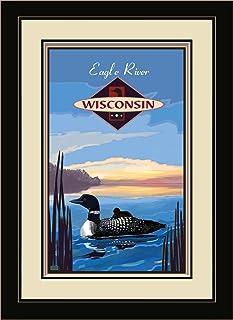 """Northwest Art Mall JK-3989 MFGDM Eagle River Wisconsin Loon Framed Wall Art by Artist Joanne Kollman, 13"""" x 16"""", Satin Black"""