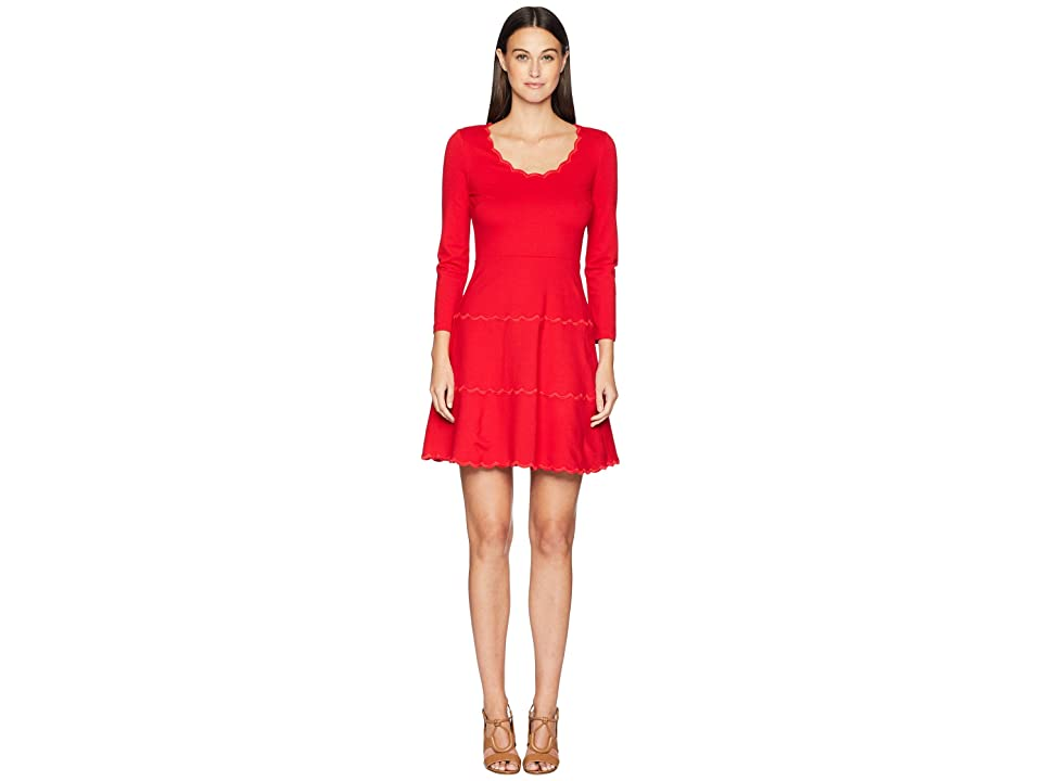 Kate Spade New York Broome Street Scallop Ponte Dress (Lingonberry) Women