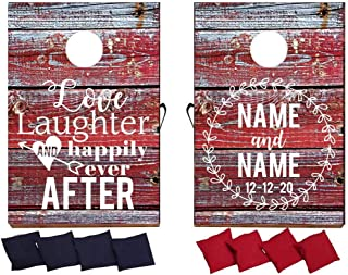 VictoryStore Custom Wedding Bag Toss Game – Custom Wedding Cornhole - Love Laughter and Happily Ever After