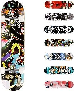 WeSkate Completo Skateboard per Principianti, 80 x 20 cm 7 Strati di Acero Double Kick Deck Concavo Skate Board per Bambin...