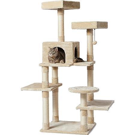 Amazon Basics - Árbol para gato tamaño mediano, 55 cm x 147 cm x 48 cm, color beige