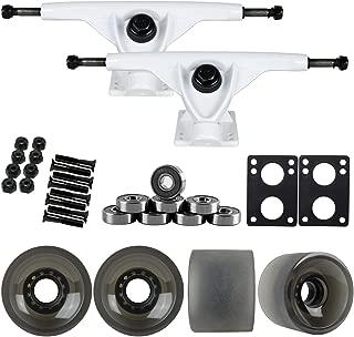 TGM Skateboards 180mm White Longboard Trucks + 70MM Black 82A Wheels + Bearings Package