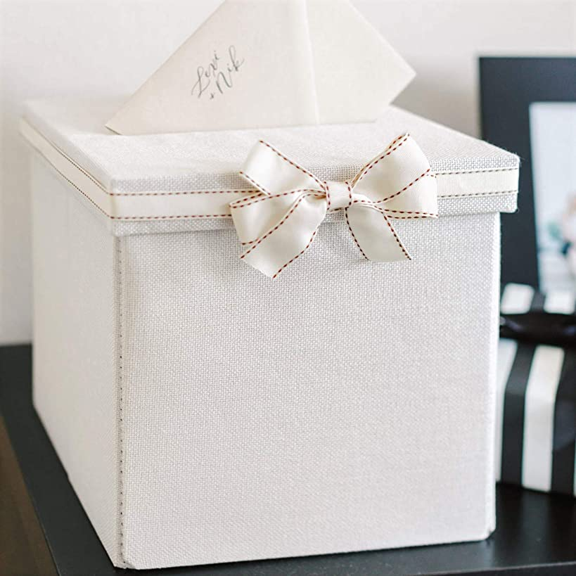 FLUYTCO Wedding Card Envelope Box - Thick Linen Fabric & Removable Ribbon Bow - Collapsible - Perfect for Weddings, Baby Showers, Birthdays, Graduations - Large Size, 100+ Cards