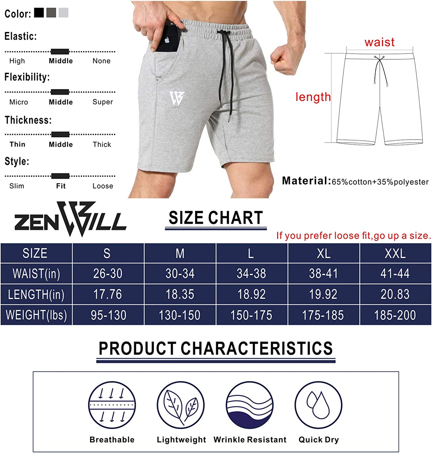 ZENWILL Mens Gym Running Shorts Workout Athletic Bodybuilding Fitness Shorts with Zip Pockets