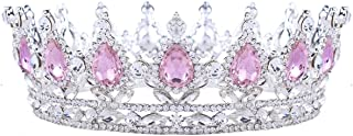 Stuff Crystal Crown Tiaras Prom Party Wedding Bridesmaid Hair Piece with Bobby Pins (Pink)