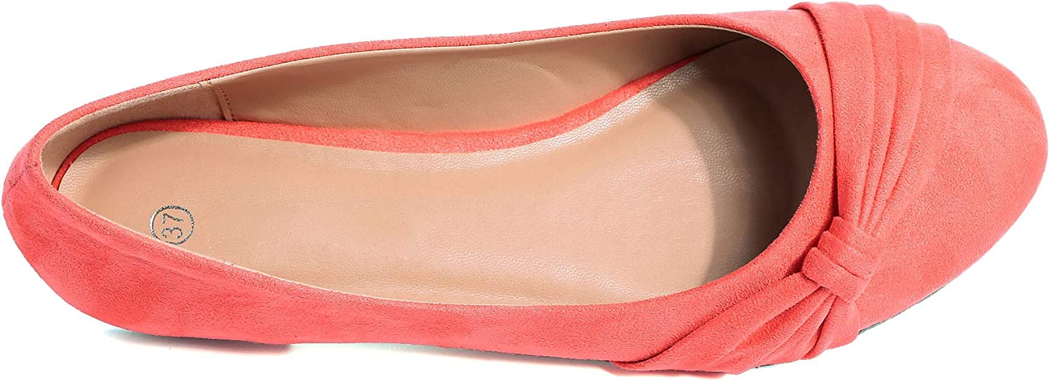 MaxMuxun Womens Ballet Flats Faux Suede Round Toe Flat Shoes