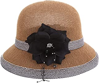 ZiWen Lu Hat Ladies Korean Version of The Summer New Grass Yarn hat Refreshing Breathable Straw hat Travel Outdoor Sun hat (Color : Brown, Size : M56-58cm)