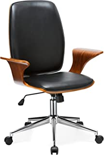 Porthos Home TFC001A BLK Lennon Comfortable, Stylish with Armrests, Height Adjustable, Ergonomic, Executive Wheels Retro Style Modern Office Chair Size 24 x 27 x 40, Black