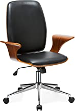 Porthos Home Lennon Comfortable, Stylish with Armrests, Height Adjustable, Ergonomic, Executive Wheels Retro Style Modern Office Chair Size 24 x 27 x 40, Black