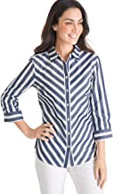 Chico's Women's No-Iron Cotton Stain-Shield Button-Up Easy Shirt