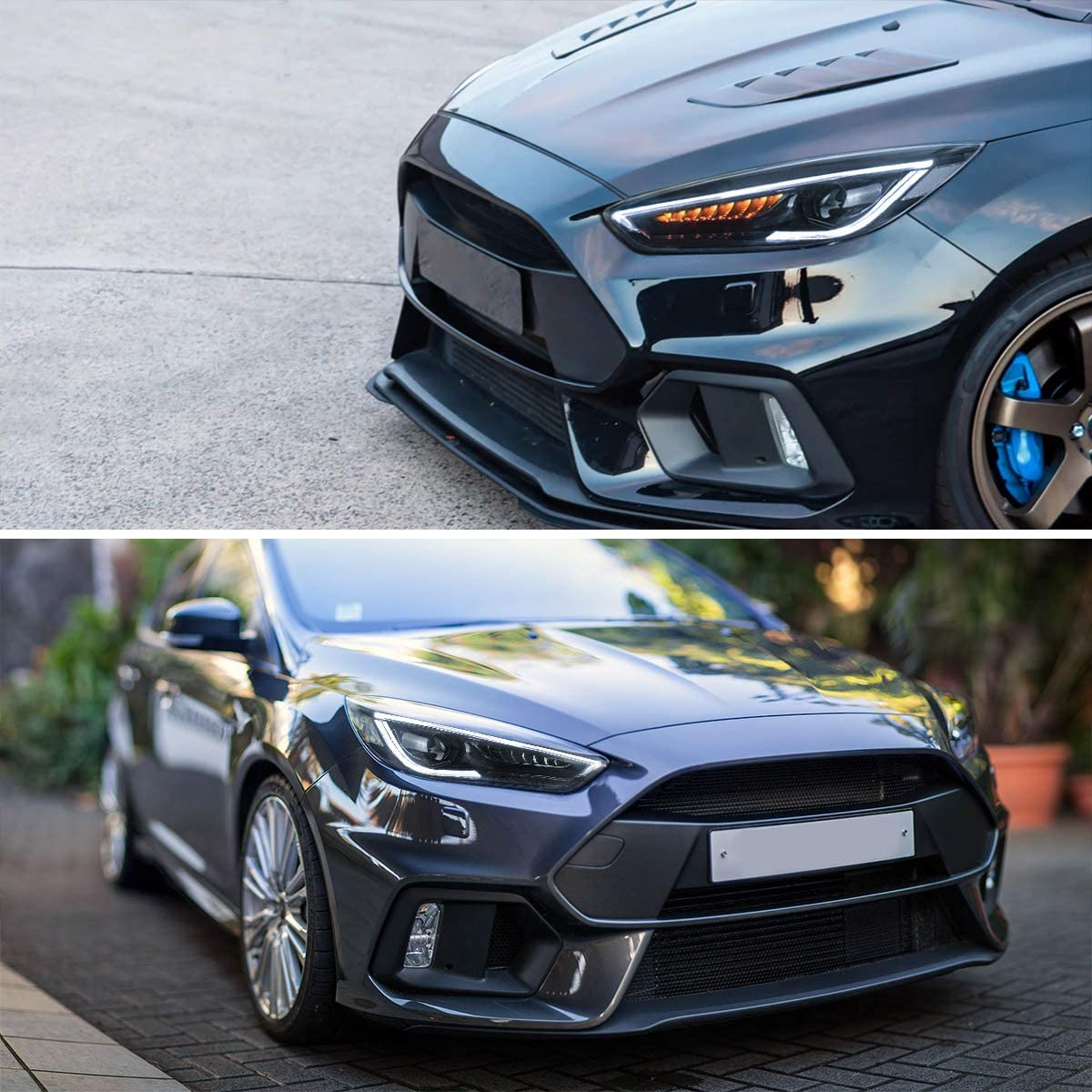 for High//Low Beam VLAND Projector LED Headlights Compatible with Focus 2015 2016 2017 2018 with Amber Sequential Black Housing D2H// D2S Bulbs Dual Beam Lens NOT included