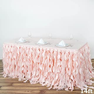 BalsaCircle 14 feet x 29-Inch Blush Curly Waves Taffeta Table Skirt Wedding Party Events Decorations Kitchen Dining Catering