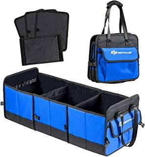 Goplus Collapsible Car Trunk Organizer, Portable Cargo Storage Container, with 3 Large Compartments, Anti-Slip Straps, Tool Grips, Automotive Storage Box Bin Cubes for SUV Car Truck Auto Vehicle