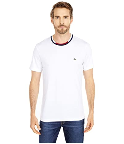 Lacoste Short Sleeve Jersey T-Shirt with A Semi Fancy Collar (White/Navy Blue/Flour/Bordeaux) Men