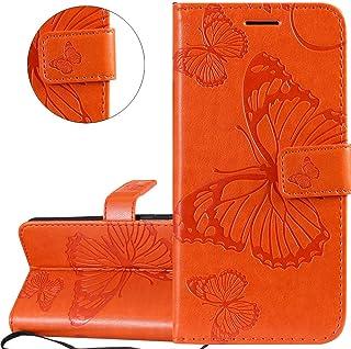 COTDINFOR Huawei P20 Lite 2019 Funda Flip Cierre Magnético Billetera Elegante Retro Suave PU Cuero Cover Anti-arañazo Carcasas para Huawei P20 Lite 2019 Big Butterfly Orange KT