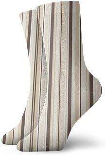 Patrón de rayas marrones claras Calcetines cortos transpirables Calcetines clásicos de algodón de 30 cm para hombres Mujeres Yoga Senderismo Ciclismo