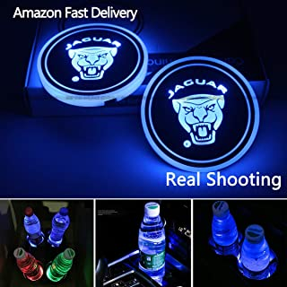 License plate frameX 2pcs LED Car Cup Holder Lights for Jaguar, 7 Colors Changing USB Charging Mat Luminescent Cup Pad, LED Interior Atmosphere Lamp,The only Domineering Pattern of The Whole Network